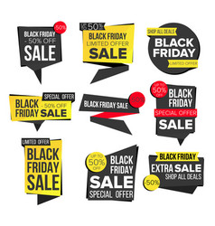 black friday sale banner set discount tag vector image vector image
