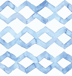 Blue watercolor seamless pattern with blue zigzag vector