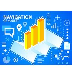 Bright navigate map and bar chart on blue ba vector