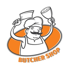 Butcher with cleaver vector