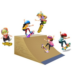 Children skateboard on wooden ramp vector
