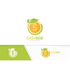 Coin and leaf logo combination money and vector
