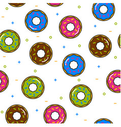 Donut colorful seamless pattern with icing on vector