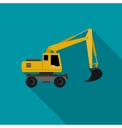 Excavator flat icon vector image vector image