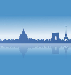 frence city skyline scenery silhouettes vector image
