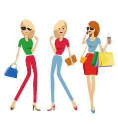 group of fashion women with shopping bags vector image vector image