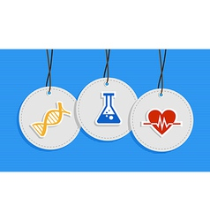 Hanging medical care badges vector image vector image