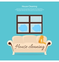 House cleaning cat on sofa design flat vector