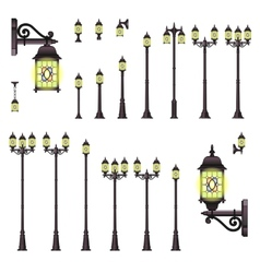 Isolated set of old style street lanterns vector