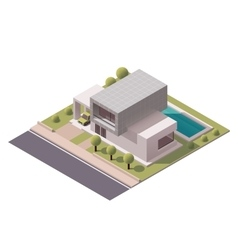 isometric modern house vector image vector image