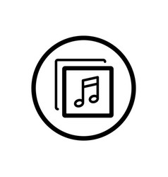Music line icon in a cirlce and a white background vector