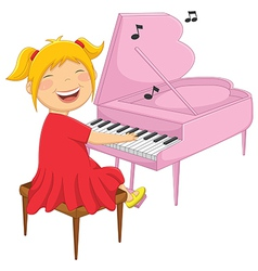 Of A Little Girl Playing Piano vector image