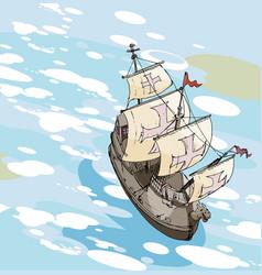 Old sailing ship vector