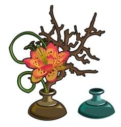 Original red flower in vase interior decor vector