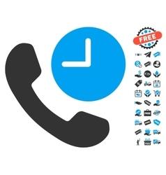 Phone time icon with free bonus vector