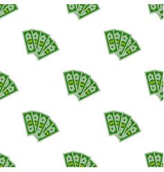 seamless pattern dollars bill cartoon money flat vector image