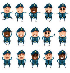 set of flat police men icons vector image