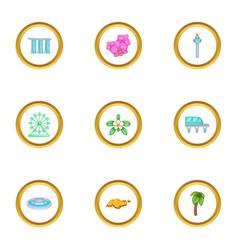 singapore travel icons set cartoon style vector image
