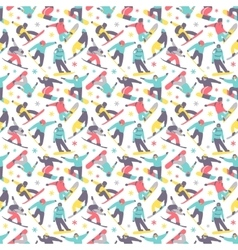 Snowboard seamless pattern vector image