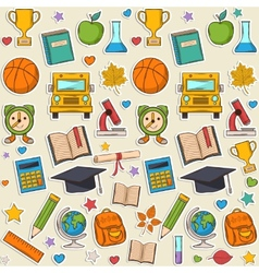 Sticker school pattern vector image