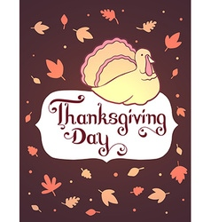 thanksgiving with gradient turkey bird and t vector image