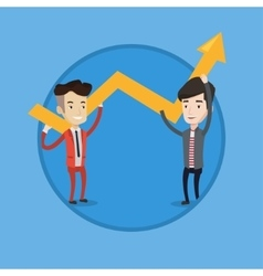 Two businessmen holding arrow going up vector
