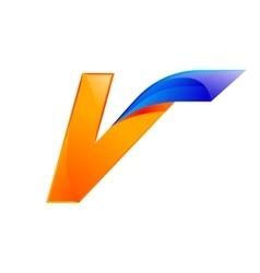 V letter blue and orange logo design fast speed vector