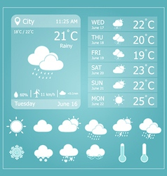 Weather forecast interface template vector