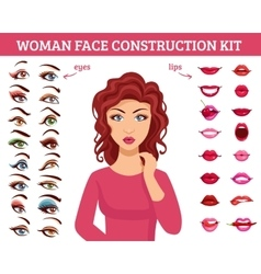 Woman face construction kit vector