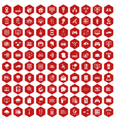 100 network icons hexagon red vector image