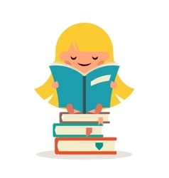 Little happy girl read fairy tail book education vector