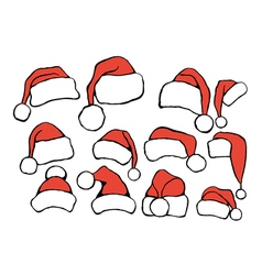 Set doodle christmas hats vector