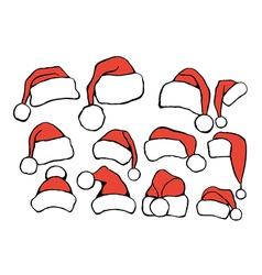 Set doodle Christmas hats vector image