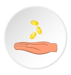 Hand holding coins icon cartoon style vector