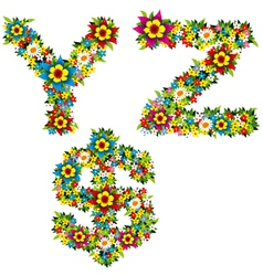 Flower and bush letters 10 vector