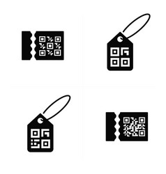 Qr code on price icon vector