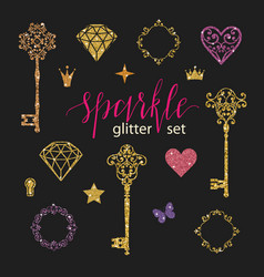 Set collection of golden glitter diamonds hearts vector