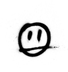 Graffiti sprayed face emoticon in black on white vector