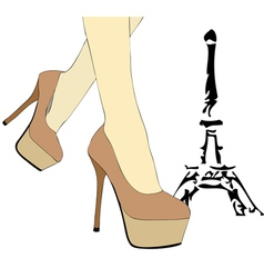 A woman walks in paris vector