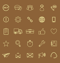 Customer service line color icons on brown vector
