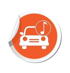 car with music icon orange label vector image