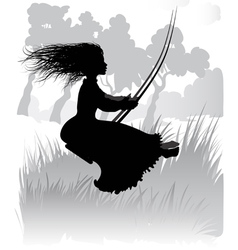 Girl on a swing vector