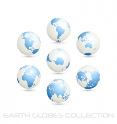 Earth globes colection white blue vector