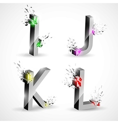 3D Shiny Explosion Alphabet vector image vector image