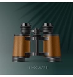 Binoculars adventure concept for scientific vector image