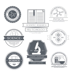 Science set label template of emblem element for vector