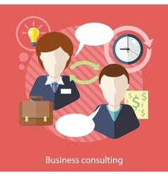 Businessman and consultant with speech bubbles vector