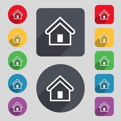 House icon sign a set of 12 colored buttons and a vector