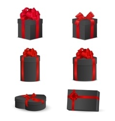 Set of black gift boxes with red bows and ribbons vector