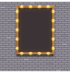 Light bulb frame on brick wall vector